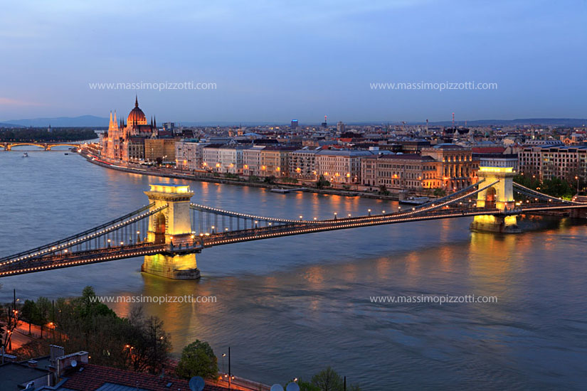 Hungary, Budapest, Cityscape with Chain Bridge