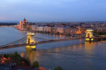 <b>Hungary, Budapest</b>, Cityscape with Chain Bridge