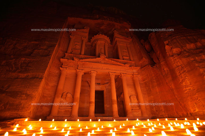 Jordan, Petra, The Treasury illuminated by candles