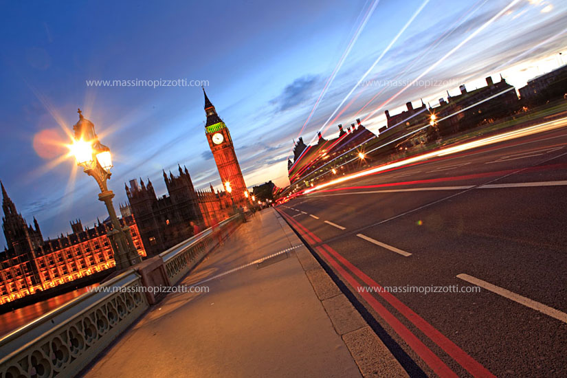 United Kingdom, London, Car light on Westminster bridge