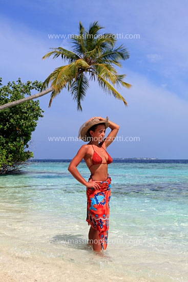 Maldives, Biyadhoo, Woman in the water