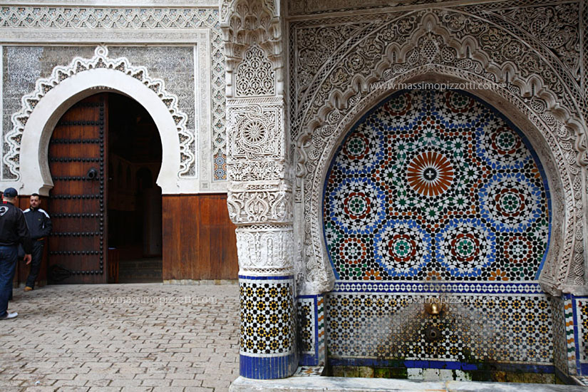 Morocco, Fes, Decorated fountain