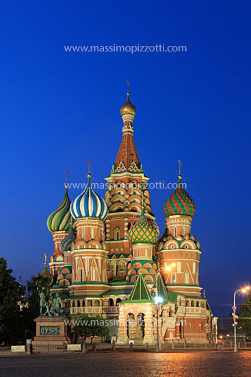 Russia, Moscow, St. Basils Cathedral at dusk
