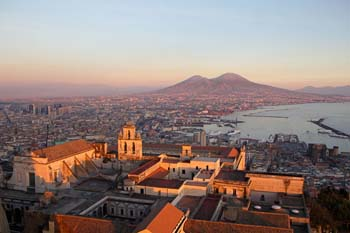 <b>Italy, Naples</b>, View of Naples and Vesuvius Volcano