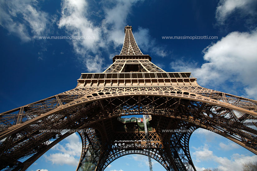 France, Paris, Wide angle view of the Eiffel Tower