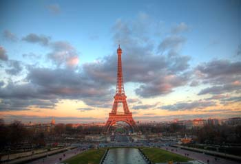 <b>France, Paris</b>,  Eiffel Tower at sunset