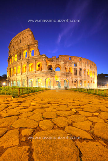 Italy, Rome, Colosseum at dusk