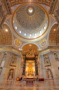<b>Italy, Rome</b>, Interior of Saint Peters Basilica