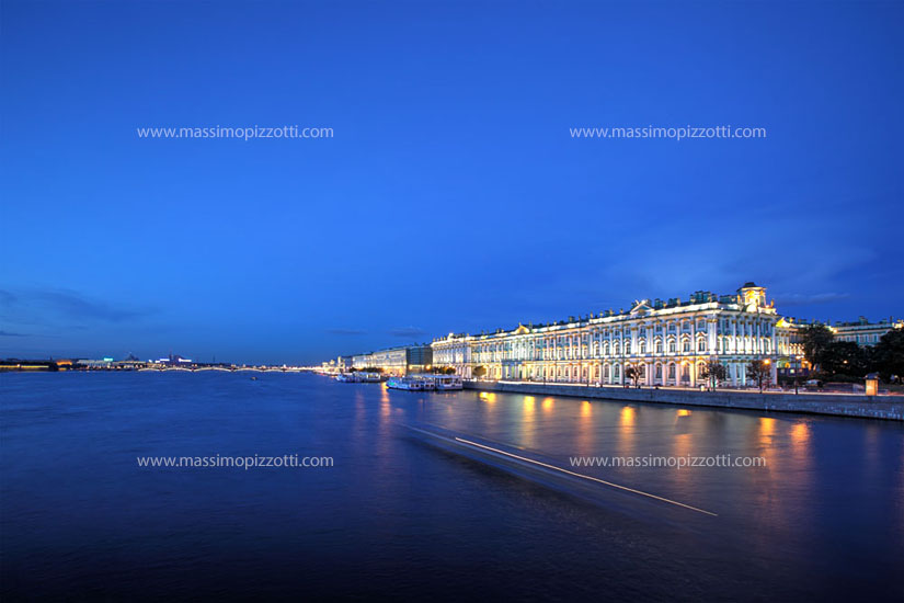 Russia, Saint Petersburg, The Winter Palace along the Neva river