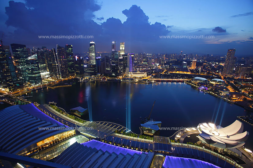 Singapore, Singapore, Elevated view of Marina bay