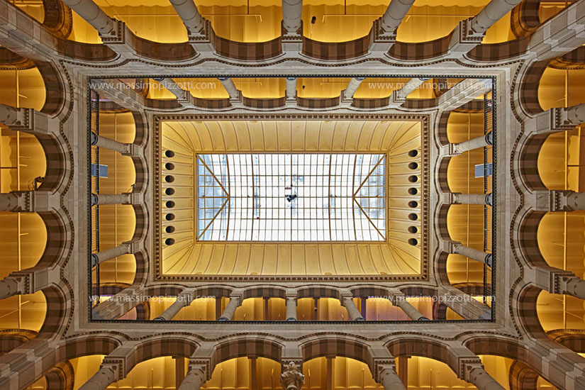 Netherlands, Amsterdam, Ceiling of the Magna plaza shopping center