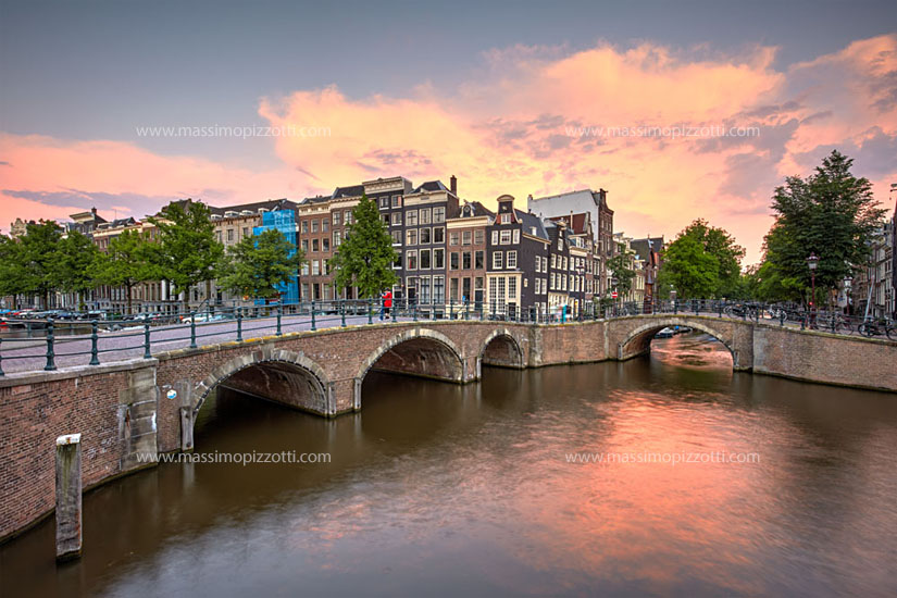 Netherlands, Amsterdam, Typical canal at sunset