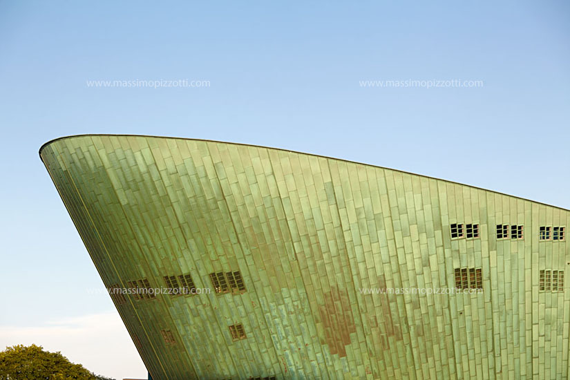 Netherlands, Amsterdam, Detail of Nemo science museum by Renzo Piano