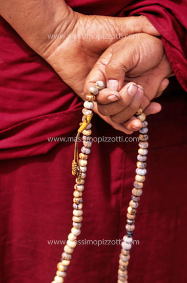India, Leh, Monk Hands with rosary