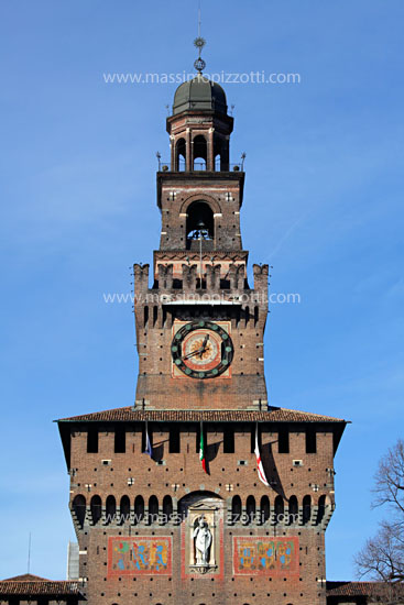 Italy, Milan, Clock tower of Sforza Castle