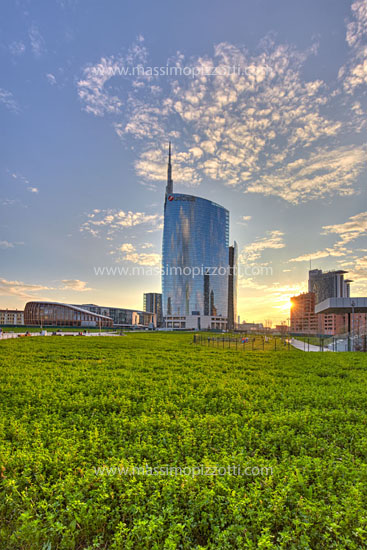 Italy, Milan, Unicredit tower at sunset