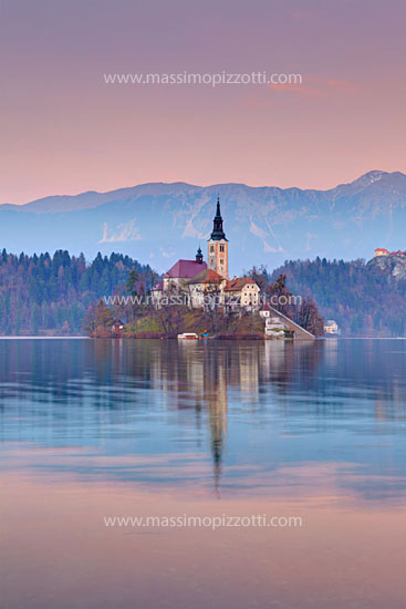 Slovenia, Bled, Lake Bled at sunset