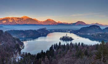 <b>Slovenia, Bled</b>, Elevated view of Lake Bled at sunset