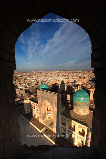 Uzbekistan, Bukhara, Mir-i-Arab madrasa and the Kalon minaret